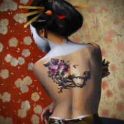 Beautiful Oil On Canvas , Nude Portrait Of A Geisha