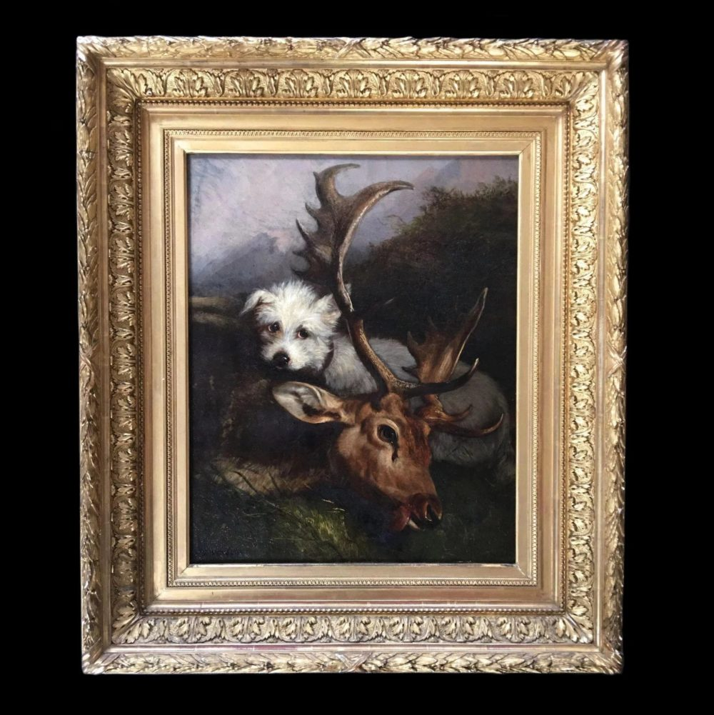 Antique-oil-canvas-hunting-scene-dog-full-2-2048x2-874