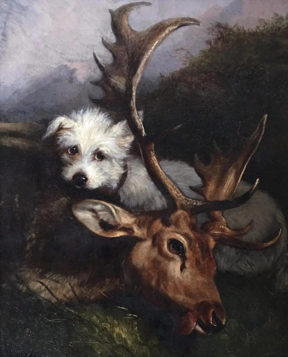Antique-oil-canvas-hunting-scene-dog-full-4-2048x2-951