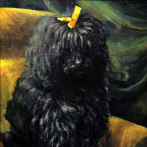 Beautiful old oil painting portrait of a poodle dog