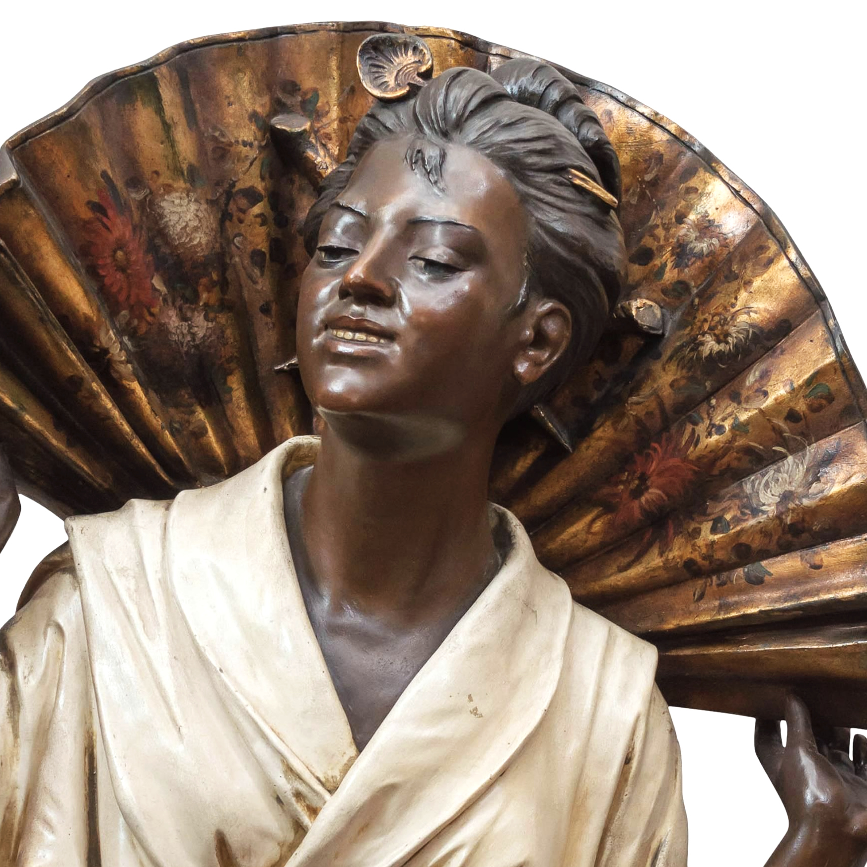 Polychromed terracotta bust by Gustav Koenig Monartsgallery