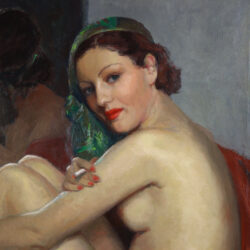 Cabaret dancer sitting before a mirror