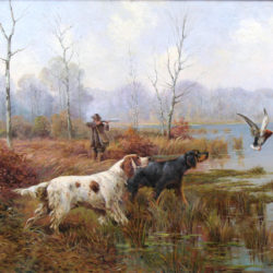 Duck hunting scene with pointers