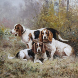 pair of French oil paintings of hunting dogs