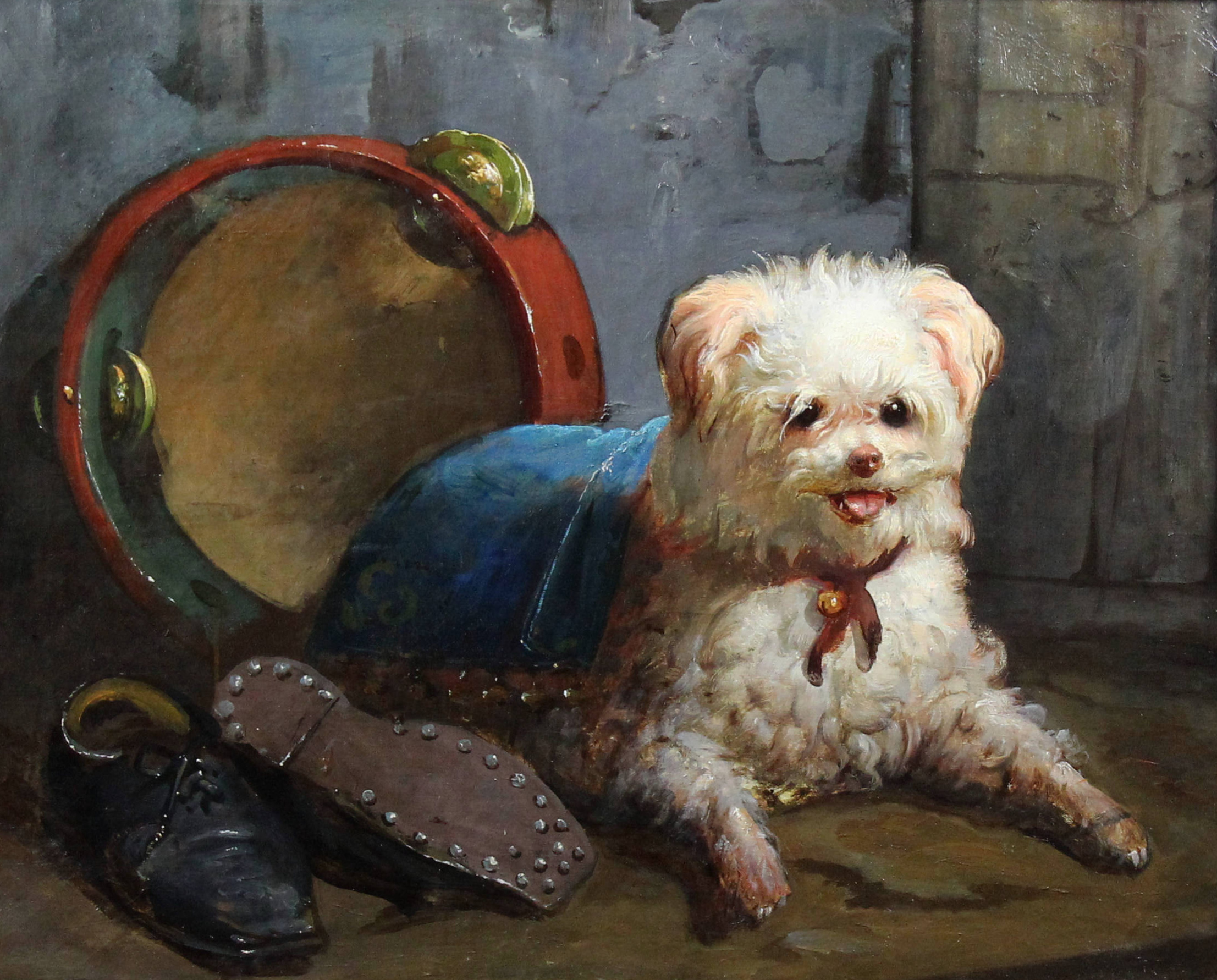 White street dog, French school 19th century