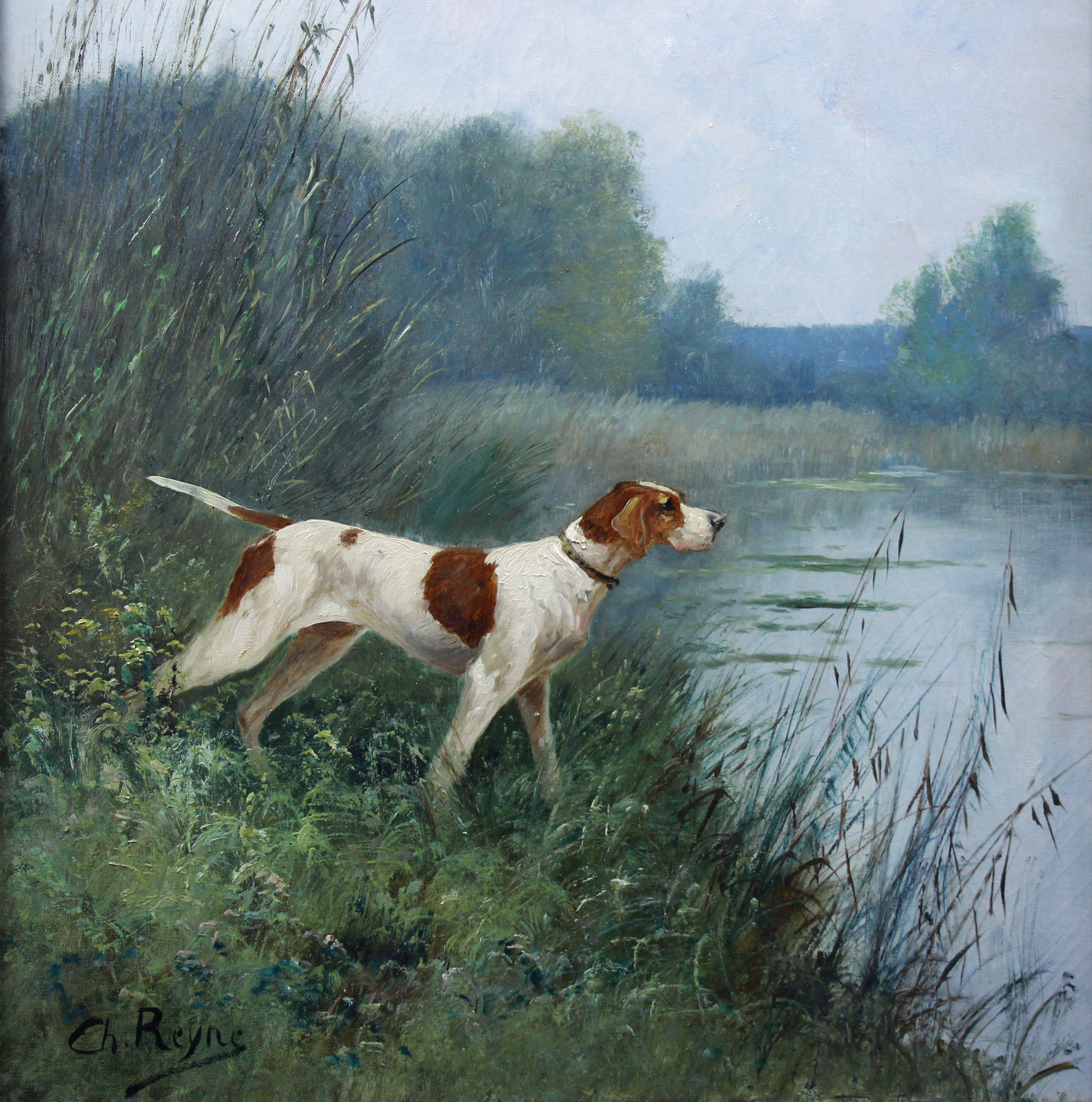 Antique oil painting, hunting dog