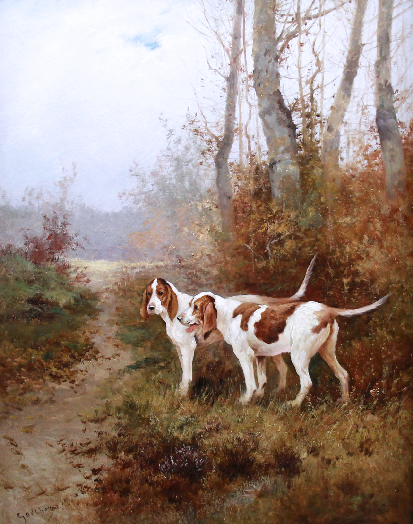 hunting scene pointer dogs