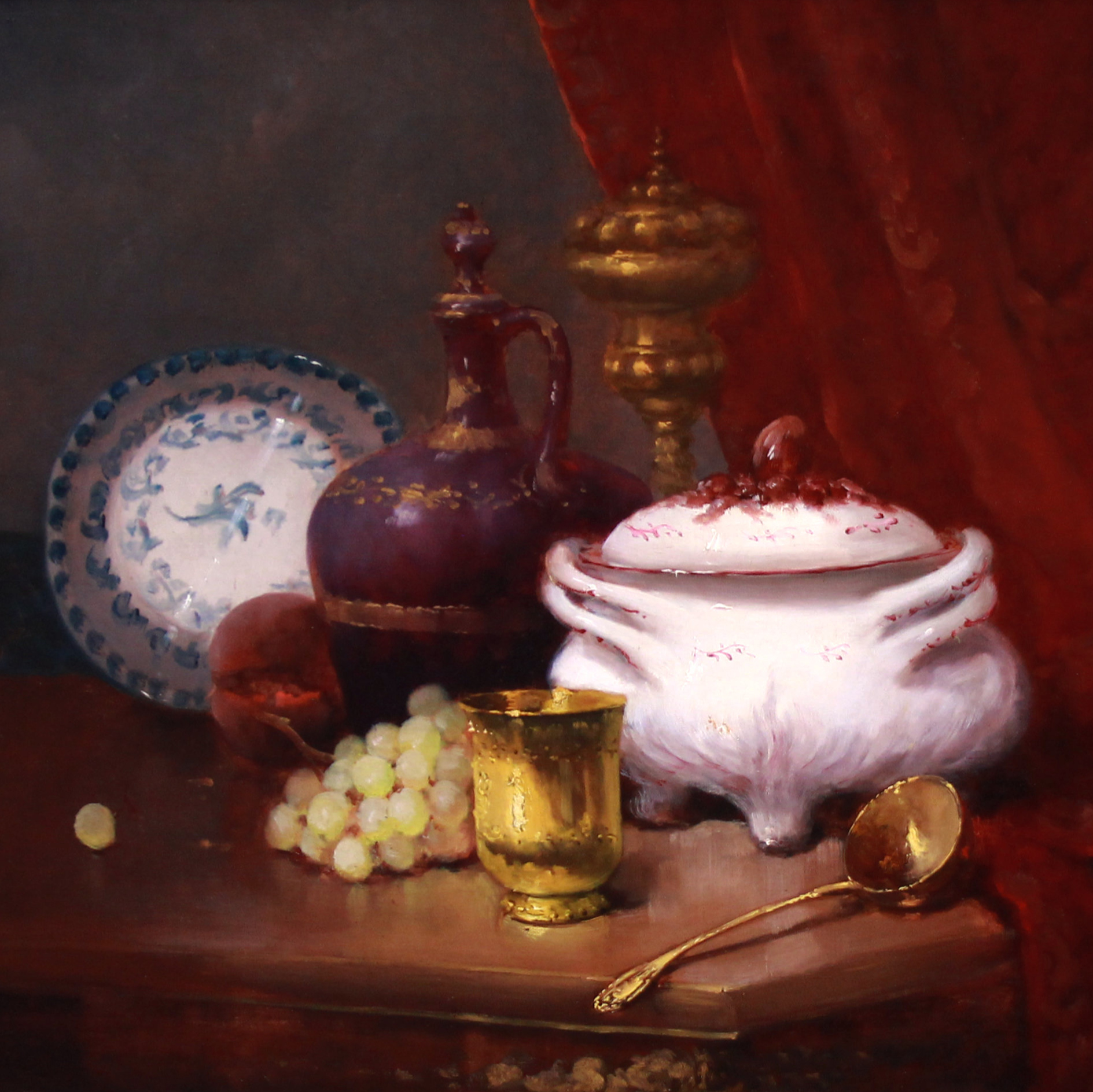 Still life with fruit and chinaware