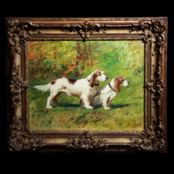 Terrier hunting dogs oil on canvas