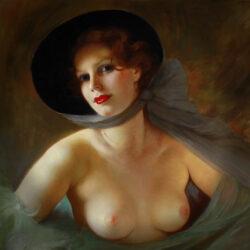 portrait nude lady with fan
