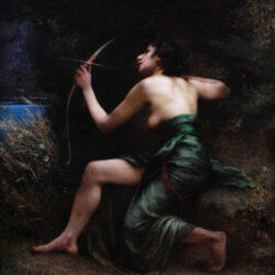 Oil On Canvas The Goddess Artemis 19th Century