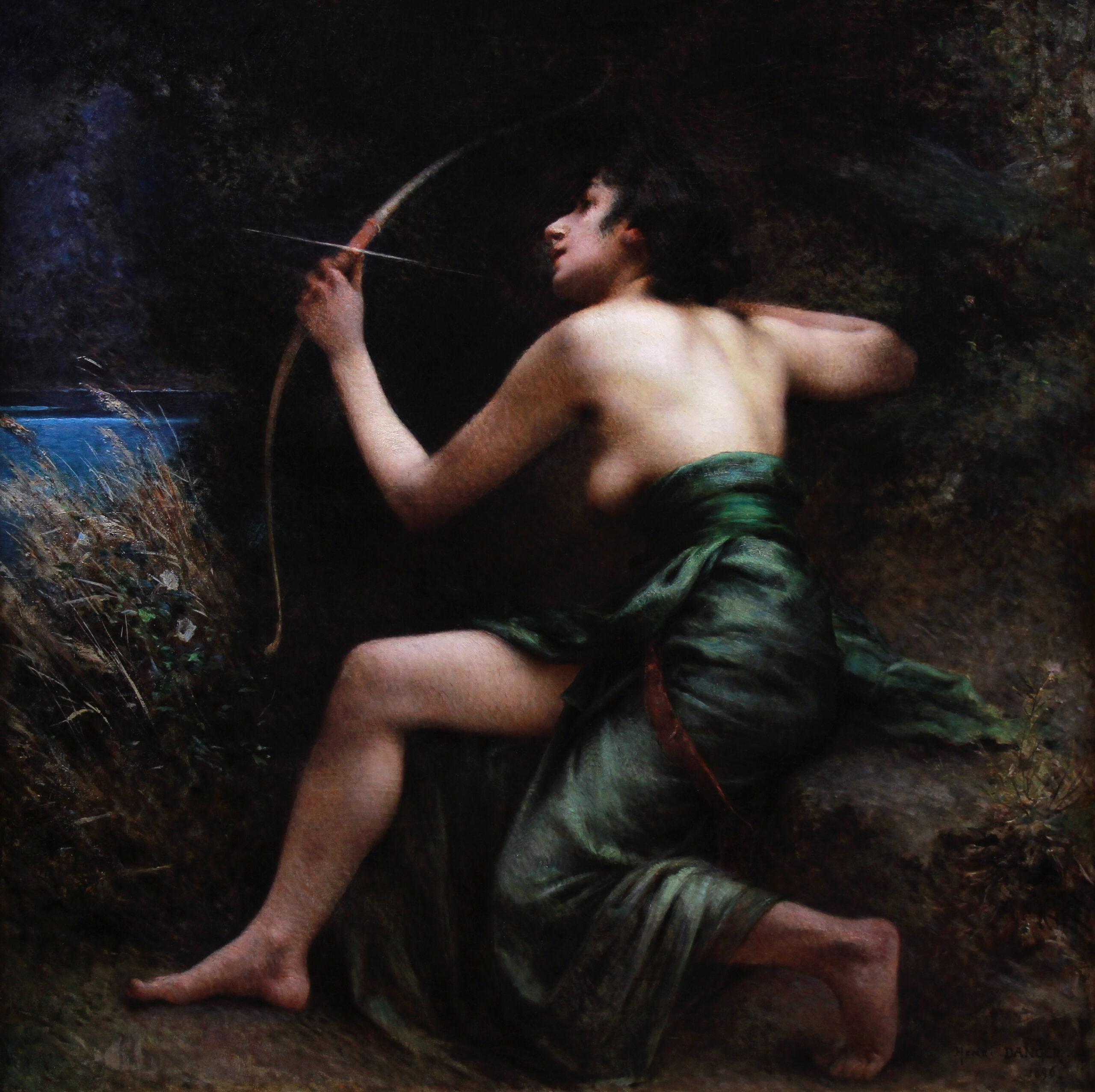 Oil On Canvas The Goddess Artemis 19th Century