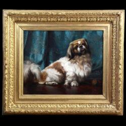 Antique oil on canvas portrait of a Pekingese Dog