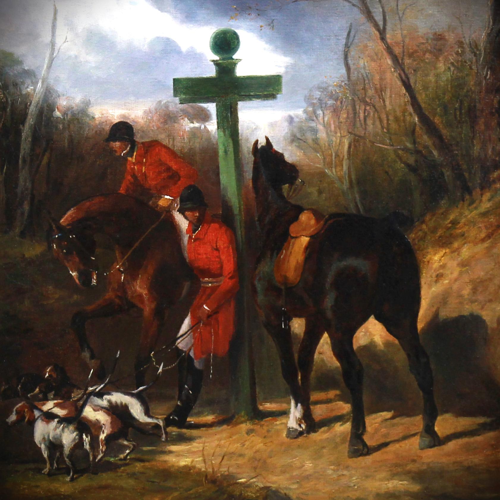 Exclusive hunting scene Halte de chasseurs by Alfred De Dreux