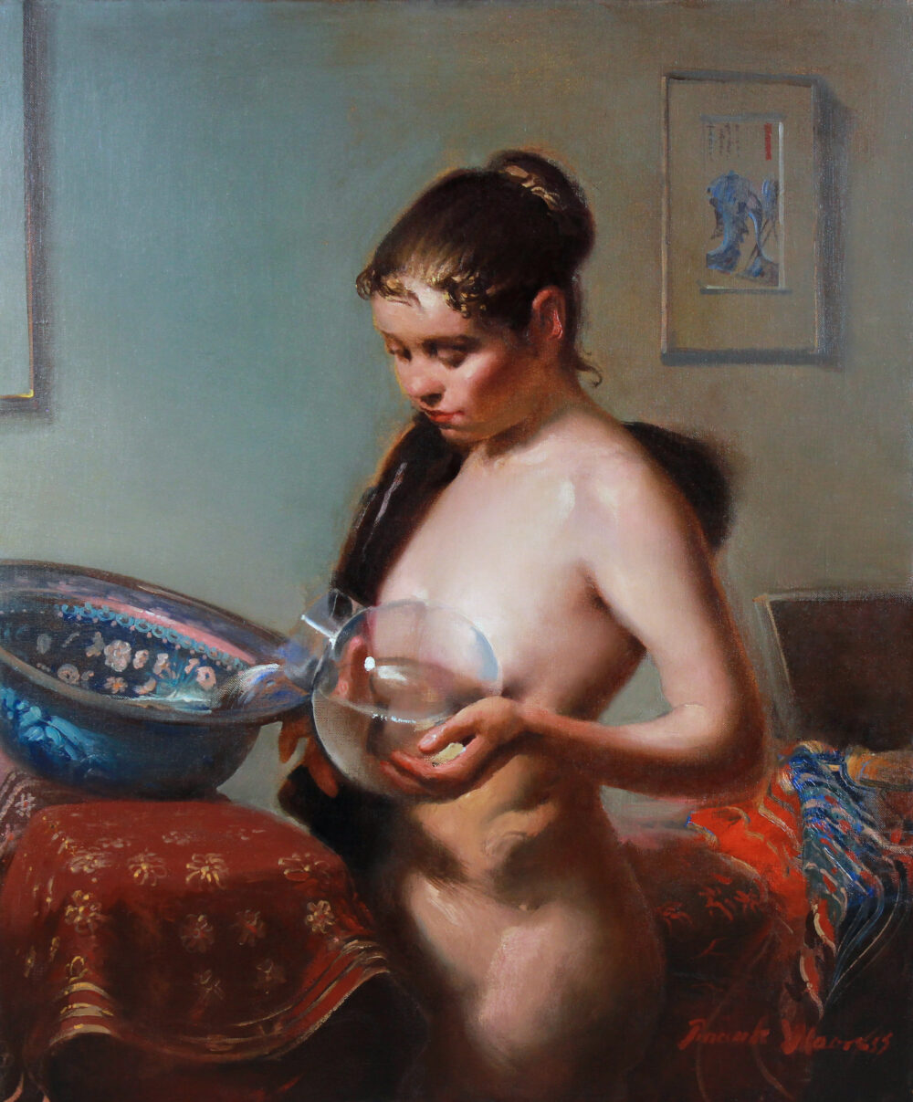 Young standing nude at the washbasin