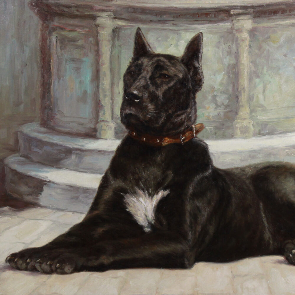 Great dane portrait oil on canvas