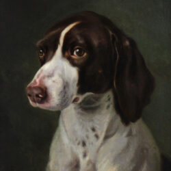19th century oil on canvas portrait of a hunting dog called Stop