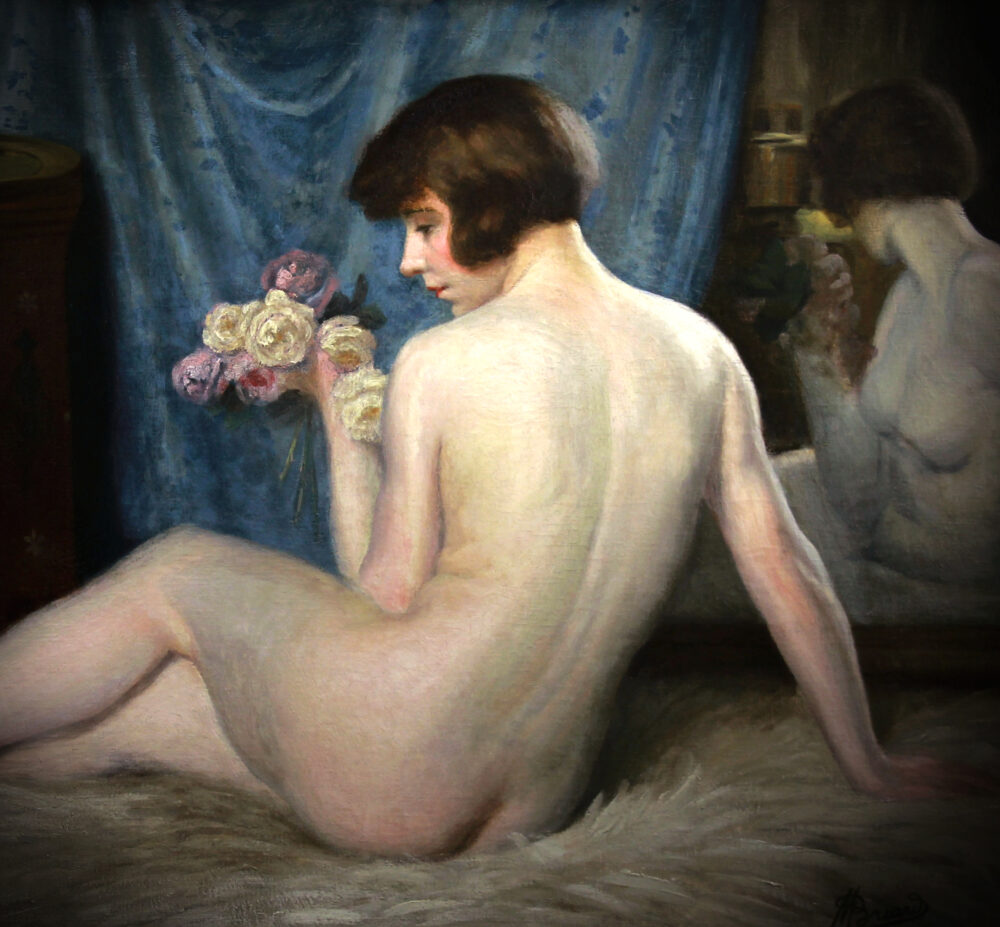 Reclining oriental nude by Maurice Briard at Monartsgallery.com