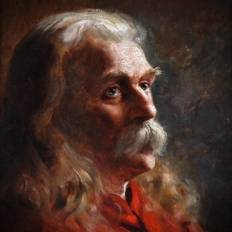 Portrait American school oil on board 19th century 1