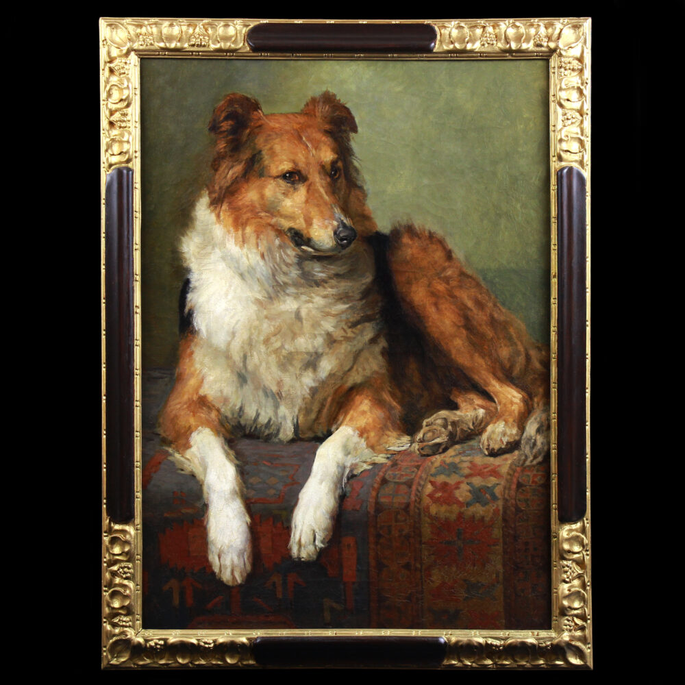 Exclusive oil on canvas portrait of a collie dog 19th century
