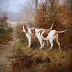 Hunting scene with two pointer dogs